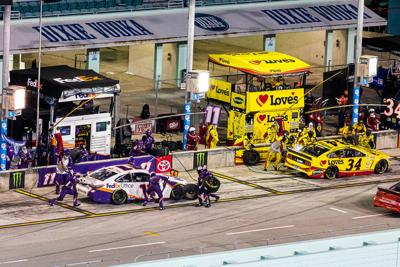 he pit stops were critical at the 2020 Dixie Vodka 400. Denny Hamlin in the #11 car, went on to win. Next door was  Michael McDowell in the #34 car.  McDowell won two weeks ago for the first time at the Daytona 500.