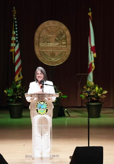 Miami-Dade County's Mayor Daniella Levine Cava giving her inaugural address at the Adrienne Arsht Center on Tuesday, Nov. 17th.