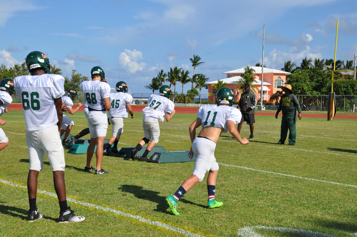 Coral Shores running drills on the field in Tavernier