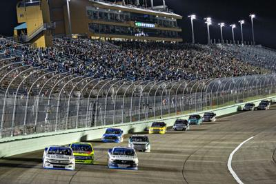 Exciting action at the Camping World Truck Series Race at Homestead.