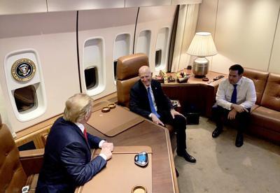 Florida Senators Rick Scott and Marco Rubio meet with President Trump on Air Force One.