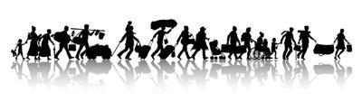 Asylum seekers silhouette