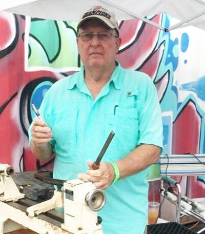 Skilled woodturner David Piper uses different pieces  of equipment to create hand-crafted writing pens.  See - www.sfwtg.com