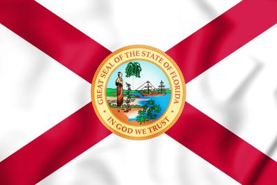 3D Flag of Florida (1900-1985), USA. 3D Illustration.