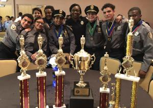 The Homestead Police Explorers celebrate their win