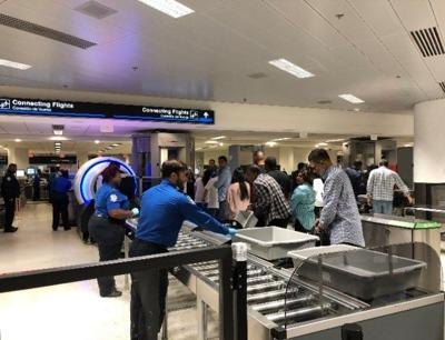 Security checkpoint at Miami International Airport