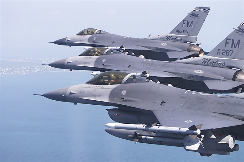 F-16C Fighting Falcon aircraft from the 482nd Fighter Wing,(The Mako's) Air Force Reserve Command in  Homestead