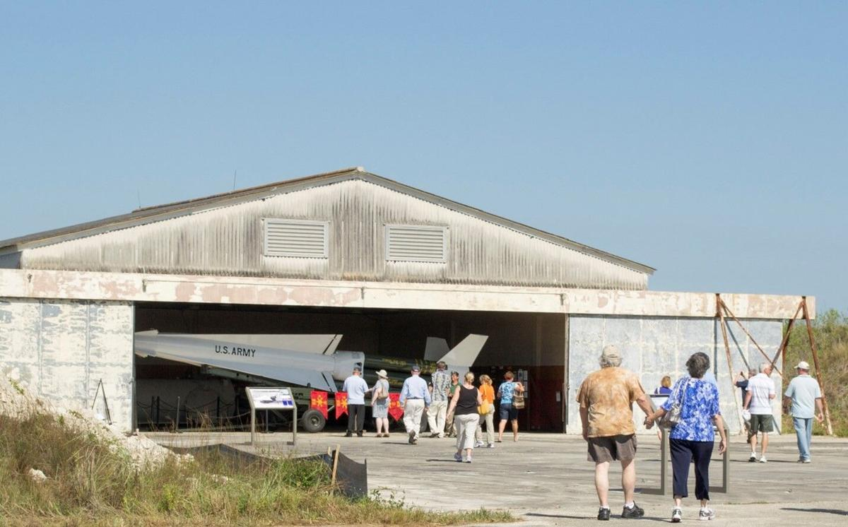 Visitors explore the historic Nike Hercules HM-69  Missile Site in Everglades National Park.