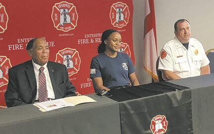 Mayor William Cooper, Brithany Dookie and Fire Chief Christopher Davis