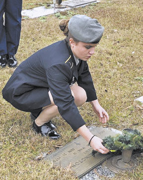 Daleville JROTC use wreaths to honor veterans