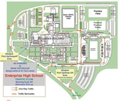 The map explains the morning drop-off and afternoon pick-up traffic flow patterns on the Enterprise High School campus.
