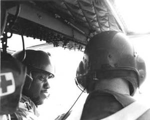 <p>George Scott is pictured in a helicopter in Hawaii in 1978 about to go on a test flight.</p>