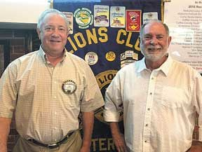 <p>Pictured are Lions Club First Vice-President Tim Laster, left, with Phil Thomas, AKA B.J. Kelli.</p>
