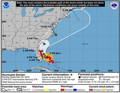Hurricane Dorian has 'very low' chance of impacting the area