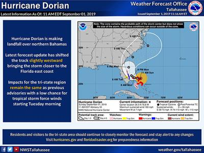 Hurricane Dorian not likely to affect Coffee County