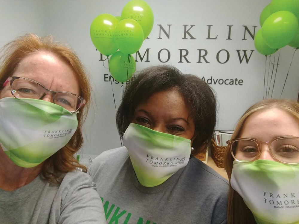 Franklin Tomorrow Executive Director Mindy Tate, Franklin Tomorrow Board President Allena Bell, and Franklin Tomorrow Director of Community Engagement Carly Schroer