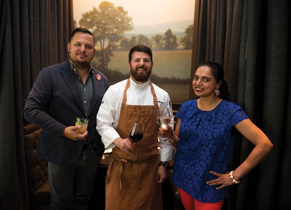 Chris Thomas, Chef Devin Walline, and Chef Maneet Chauhan