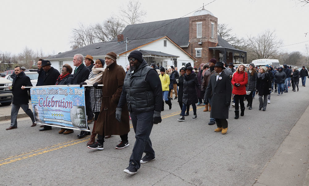 The march started at First Missionary Baptist Church and went to the Public Square in downtown Franklin