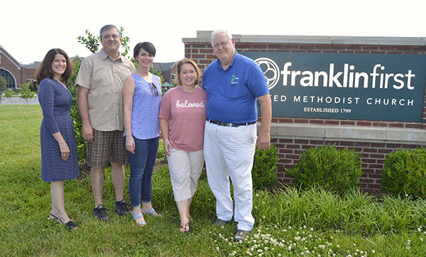 Sarah Carty, Franklin First pastor of adult ministries, Pastor Kevin Riggs of Franklin Community Church and co-founder of the homeless alliance and volunteers Barbara Layden and Steve Fulton and Jody Todd of FFUMC.