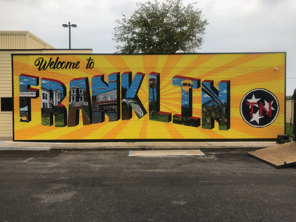 Located on the side of Urgent Team on Hillsboro Rd, as you enter into downtown Franklin. The city's first public art mural!