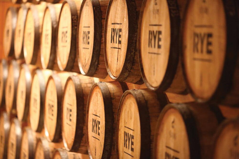 Whiskey Rye aging in barrels