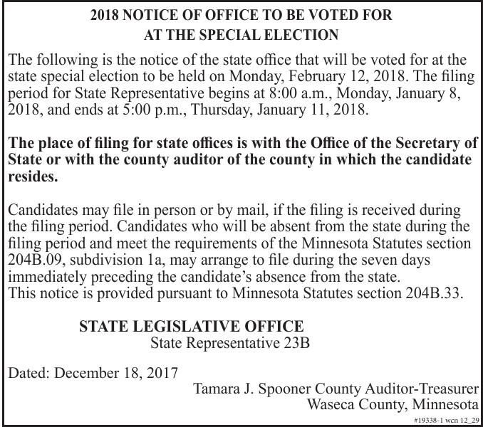 Waseca County - Notice of Filing