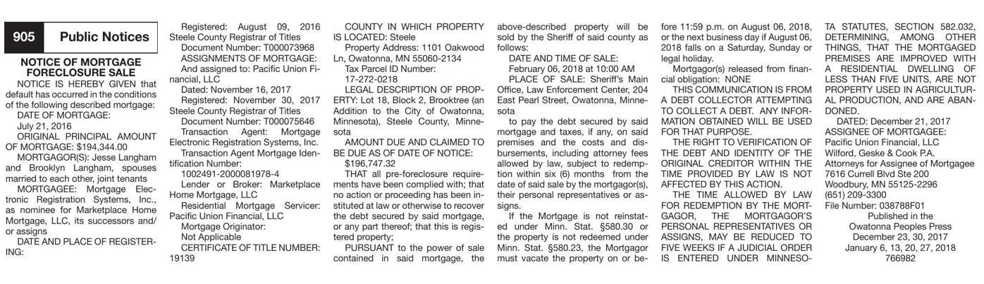 Notice of Mortgage Foreclosure