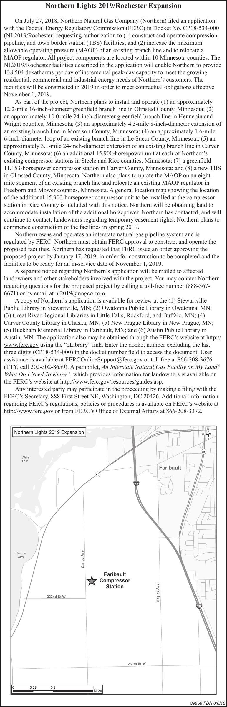 Northern Natural Gas: Northern Lights 2019/Rochester Expansion Notice