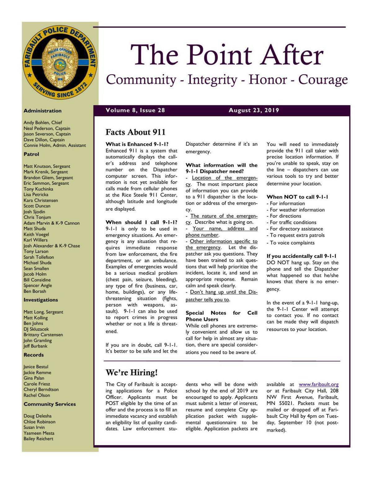 The Point After, Faribault Police Dept. weekly newsletter - Aug. 23
