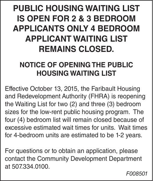Public Housing Waiting List Is Open For 2 3 Bedroom Applicants