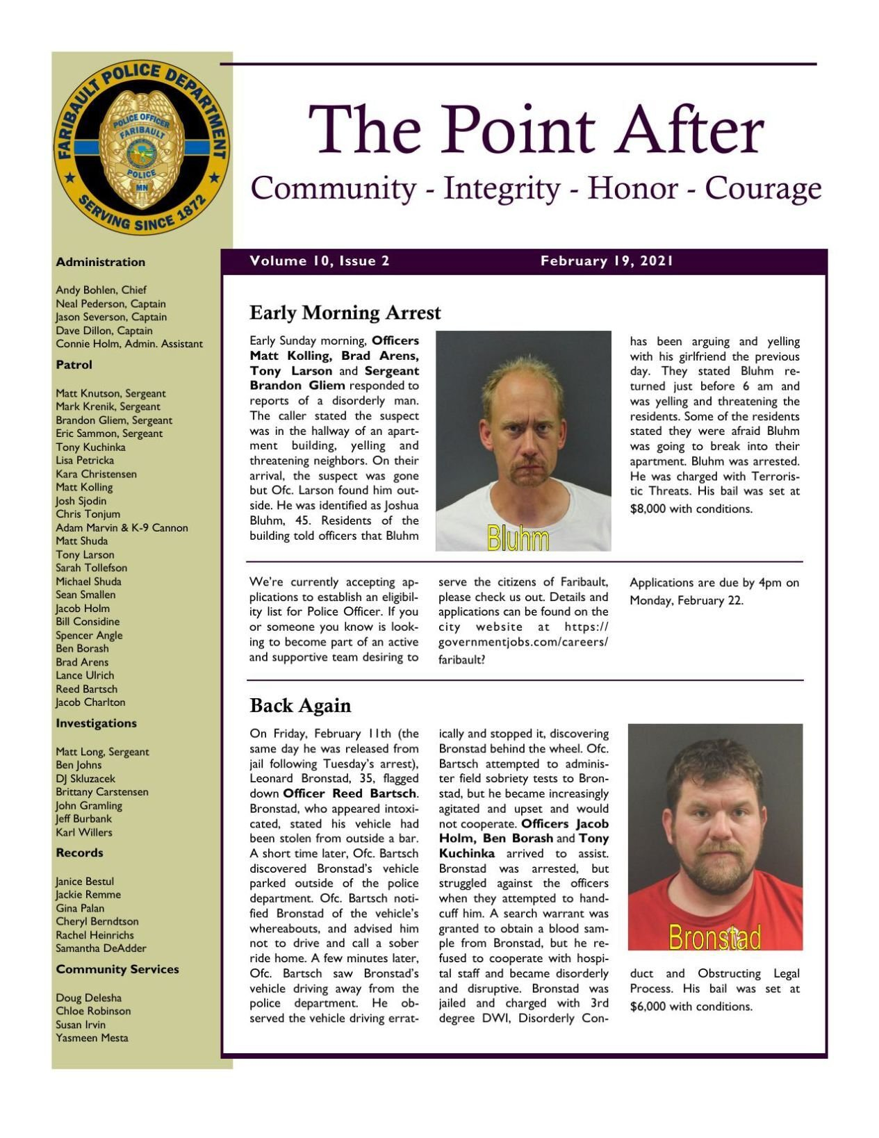 The Point After, Faribault Police Dept. weekly newsletter - Feb. 19