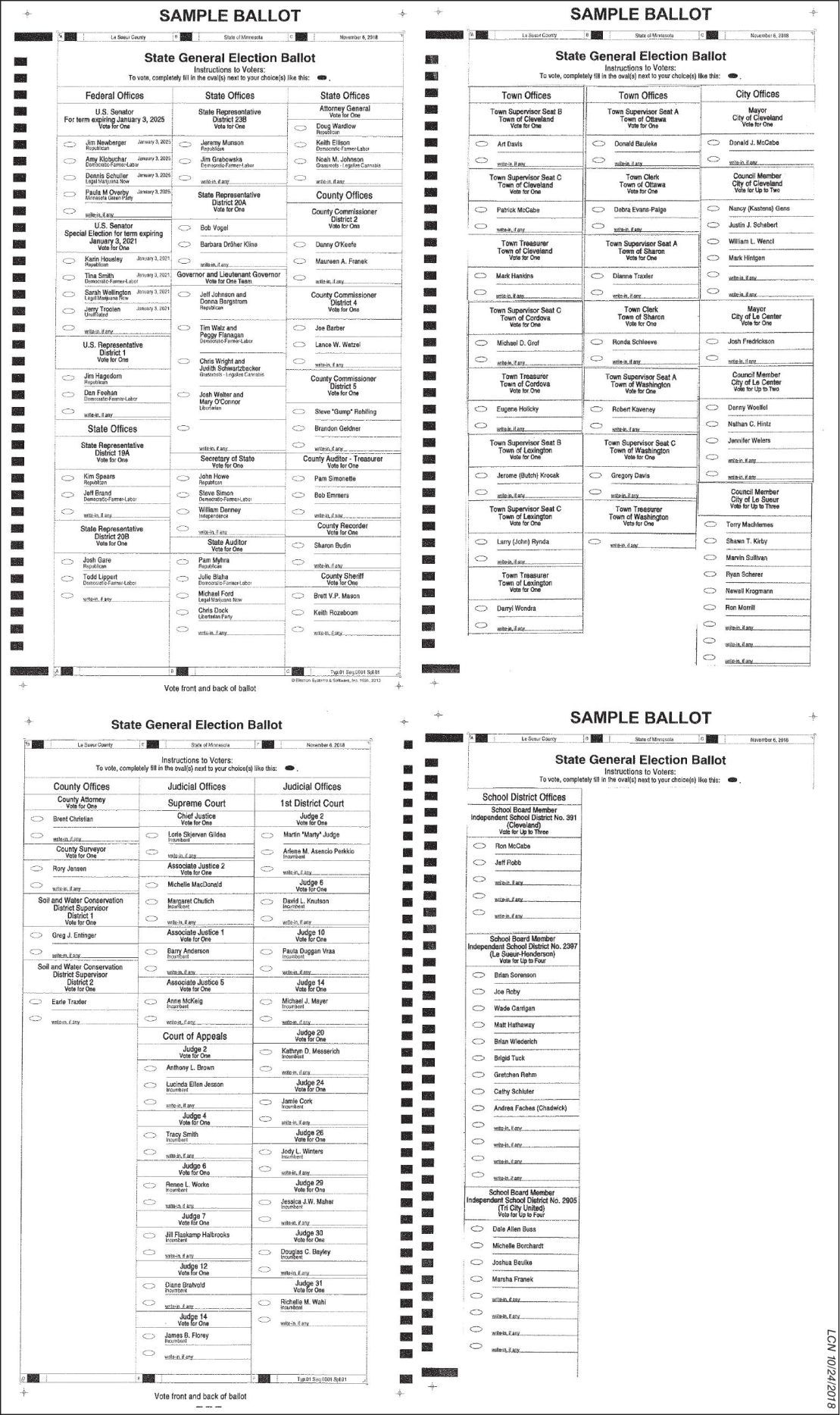 Le Sueur Co Admin: Sample Ballot 2018