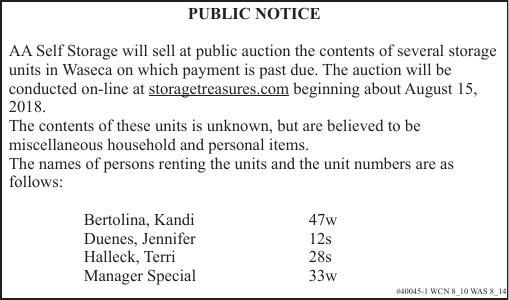 40045-1 - Public Notice - Self Storage Auction