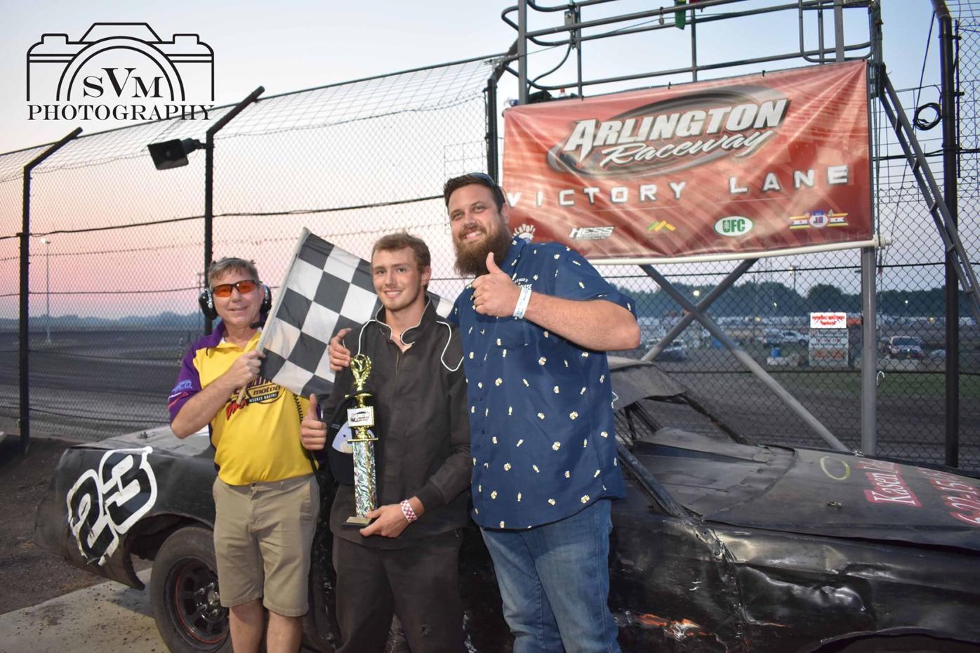 Eckblad Trucking IMCA Hobby Winner #23 Tayte Harazin