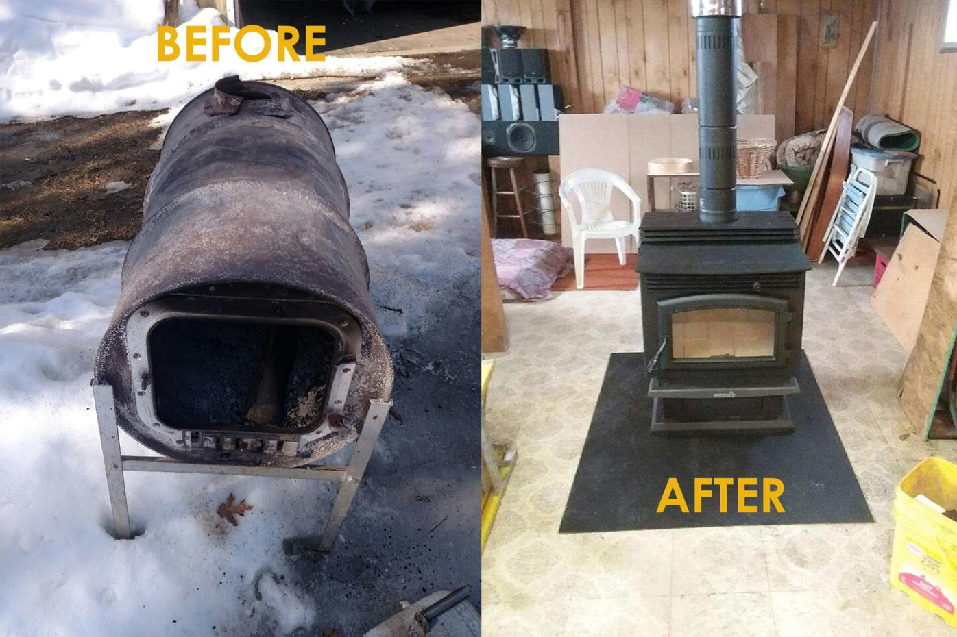Wood Stoves before/after