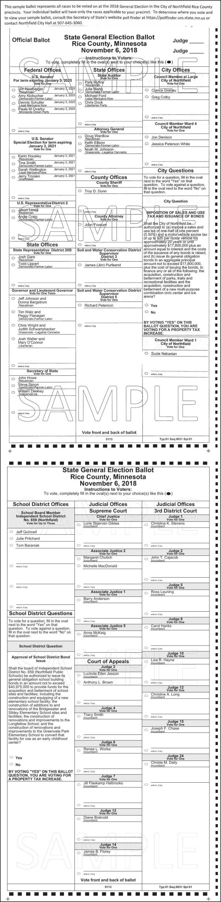 Rice Co Sample Ballot