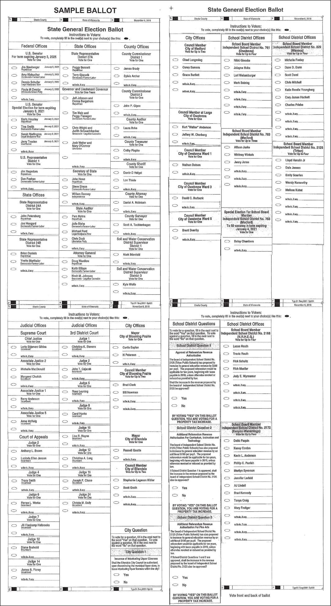 Steele County Sample Ballot 2018