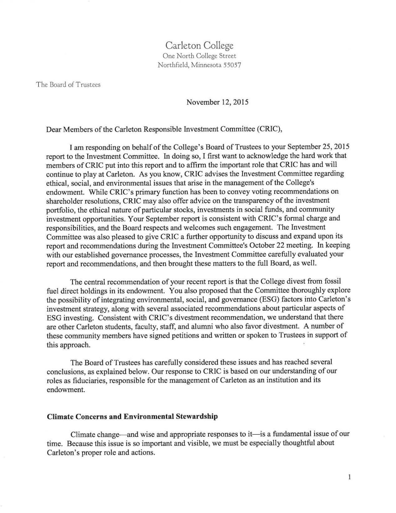 Board of Trustees response