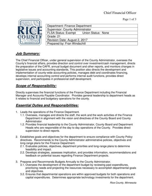 Rice County Cfo Job Description   SouthernminnCom