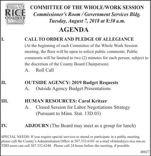 Rice Co Admin: Committe of the Whole/Work Session 8-7 Agenda