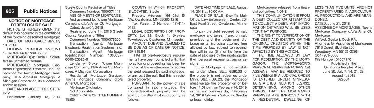 39067-1 - Notice of Mortgage Foreclosure - Darl L. Scheffert