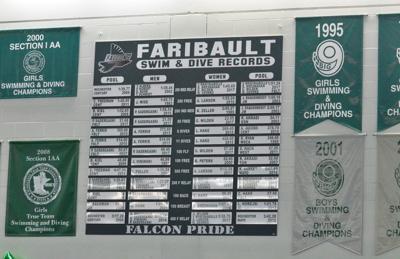 Faribault swim and dive record wall