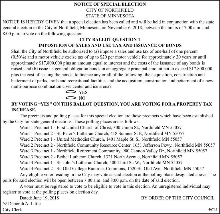 City of Northfield: Special Election Ballot Sample and Notice 2018