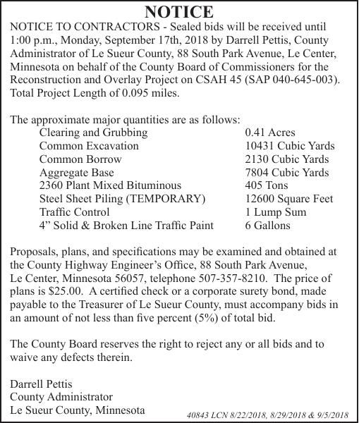 Le Sueur County Highway: Advertisement for Bids