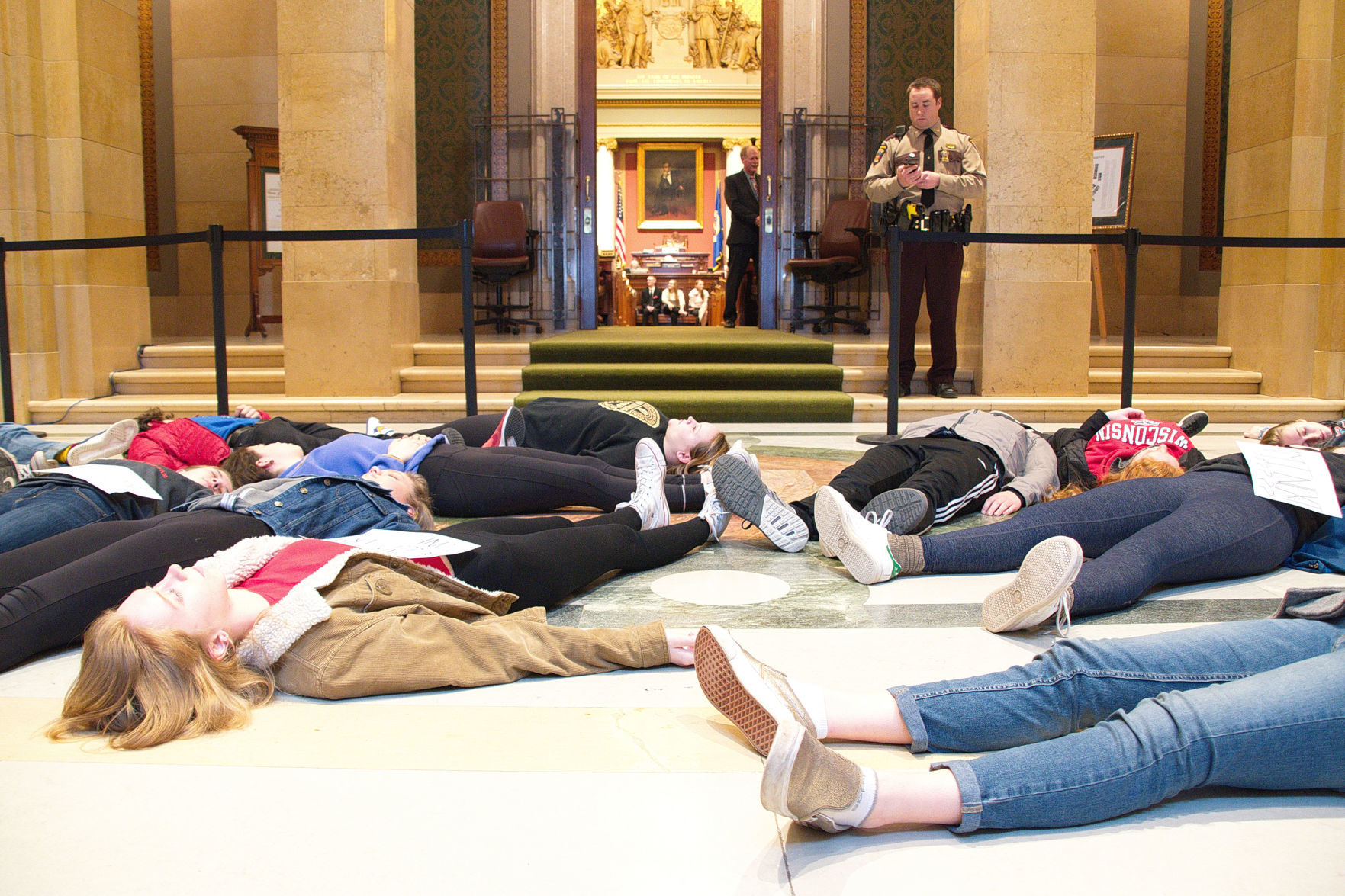 Twenty Two Students Stage A U201cdie Inu201d Thursday In Front Of The Minnesota  House Chamber In Protest Of The Legislature Taking No Action On Gun Control  ...