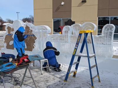 Sleigh and Cutter ice sculpture honors first responders
