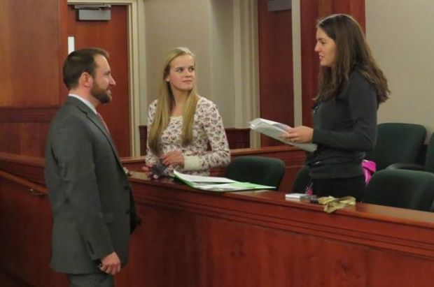 St. Peter Mock Trial team members practice