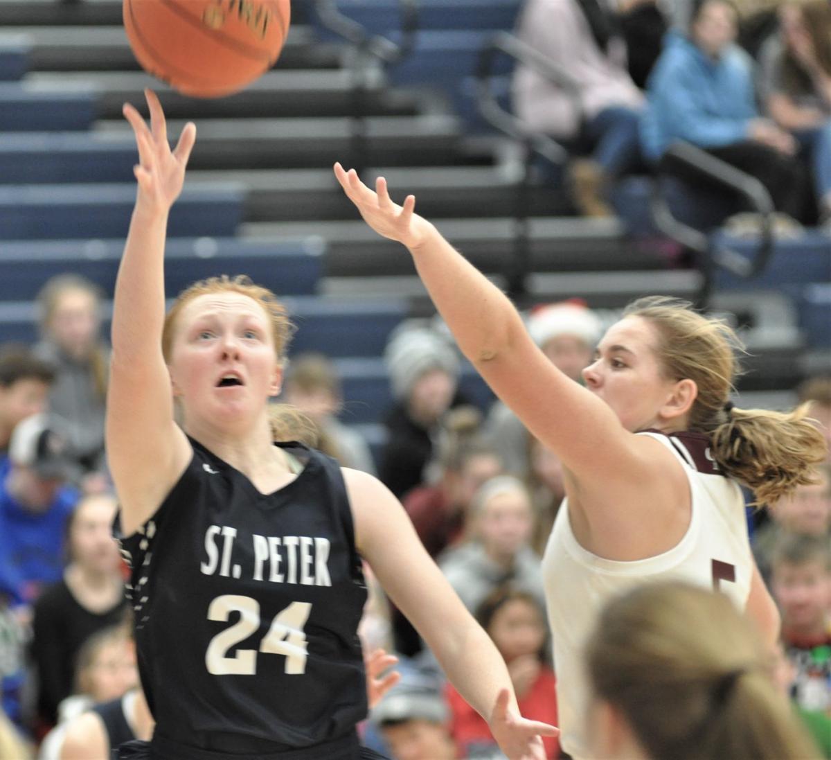 St. Peter depth wears down NYA, Saints girls win