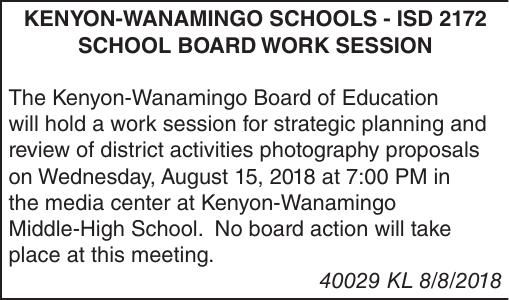 Kenyon Wanamingo School Board Work Session - 8/15