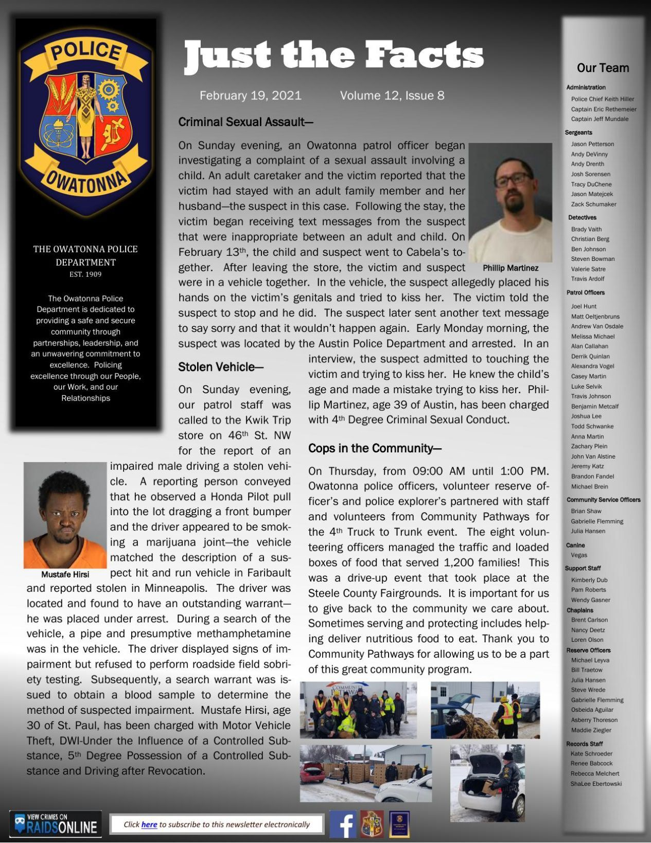 Just the Facts - Owatonna Police Dept. weekly newsletter, Feb. 19